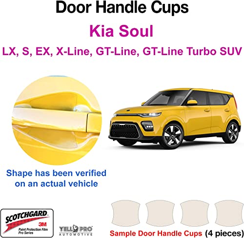 high quality YelloPro Custom Fit high quality Door Handle Cup 3M Scotchgard Anti Scratch Clear Bra Paint Protector Film Cover Self Healing PPF Guard Kit for 2020 2021 Kia outlet sale Soul LX, S, EX, X-Line, GT Line, GT Line Turbo SUV online sale