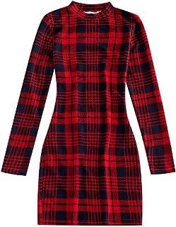 ZAFUL - Vestito da donna a maniche lunghe con scollo rotondo