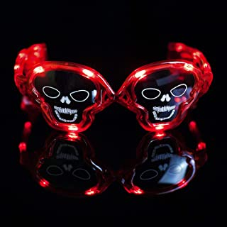 Fun Central LED Skull Sunglasses - Light Up Glasses for Halloween & Pirate Themed Events and Party Accessory - Red