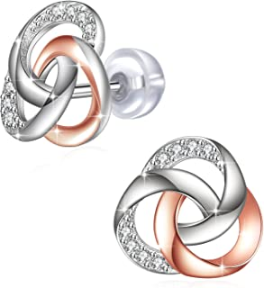 "Earrings, Fine Jewelry for Women J.Rosée 925 Sterling Silver Cubic Zirconia ""Spiral Galaxy"" Stud Earrings"