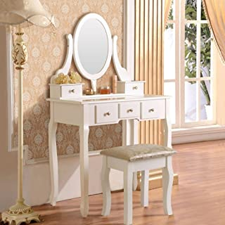 Mefeir Princess Dressing Table Stool with Mirror, Gloss Bedroom Vanity Wooden Set, Girl Small Makeup Seat Saving Room Compact (5 Drawers Set, White)