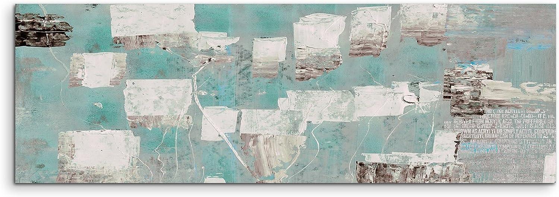 120x40cm Panoramabild abstrakt Leinwanddruck Kunstdruck Wandbild türkis blau beige beige beige grau B00TSP085A e42ef9