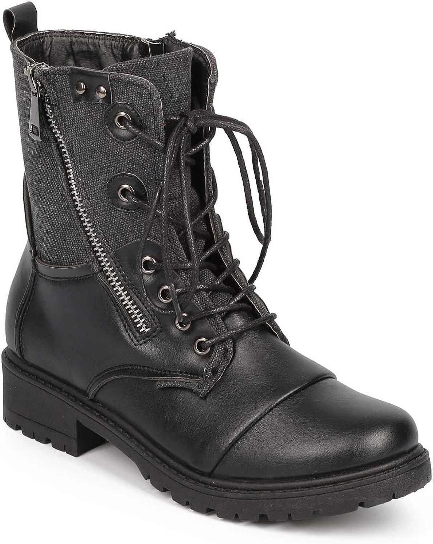Bumper DD53 Women Mix Media Canvas Cap Toe Zip Combat Boot - Black