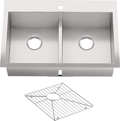 "KOHLER Vault 33"" Double-Bowl 18-Gauge Stainless Steel Kitchen Sink with Smart Divide with Single Faucet Hole K-3838-1-NA Drop-in or Undermount Installation, 9 Inch Bowl"