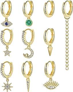 Adramata 10-16 Piezas Chapadas En Tono Dorado Pequeños Conjuntos De Pendientes Colgantes Para Mujer Mini Pendientes Colgan...