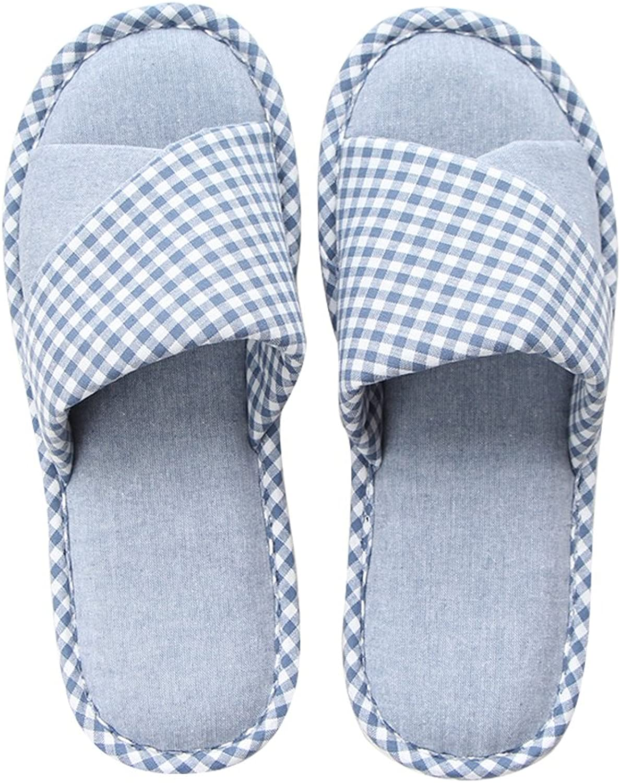 Mianshe Women's and Men's Cozy Cotton House Slippers Indoor Anti-Slip shoes Memory Foam Four Season