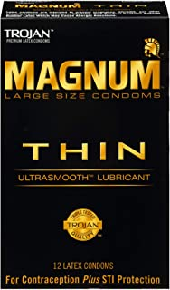 Trojan Magnum Thin Large Size Lubricated Condoms – 12 Count