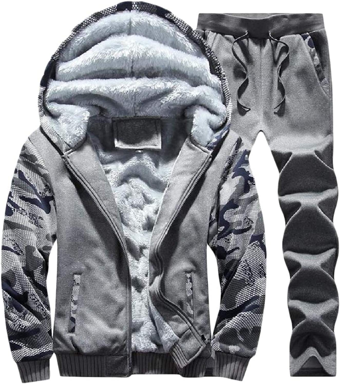 Vska Mens Hoodie Fleece 2Piece Autumn Casual Sport Sweat Suit Set