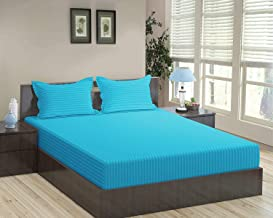 Trance Home Linen 100% Cotton 210 TC King Bedsheet 9Ft * 9Ft with 2 Pillow Covers (Aqua Turquoise Blue)