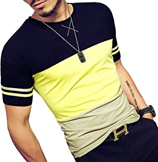 24a7e88f0d31 LOGEEYAR Mens Summer Fashion Fitted Cotton Short-Sleeve Contrast Color  Stitching T-Shirt