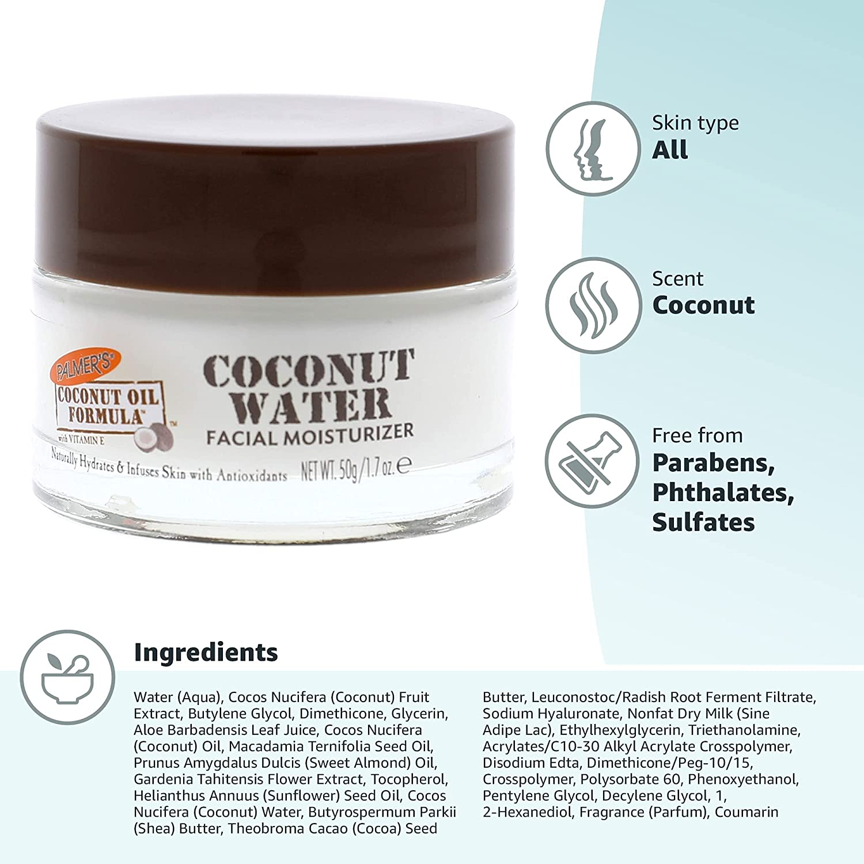 Palmer's Coconut Oil Formula Coconut Water Face Moisturizer, 1.7 Ounce Jar : Beauty & Personal Care