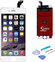 SANKA iPhone 6 LCD Screen Replacement White, Digitizer Display Retina Touch Screen Glass Frame Assembly for iPhone 6, 4.7 inches - White (Free Tools Included, Ship from USA)