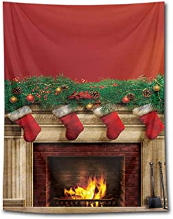 HVEST Christmas Fireplace Tapestry Wall Hanging Merry Christmas Stockings Ornaments Wall Tapestry Xmas Wall Blanket for Bedroom Living Room Dorm Decor, 60Wx80H Inches