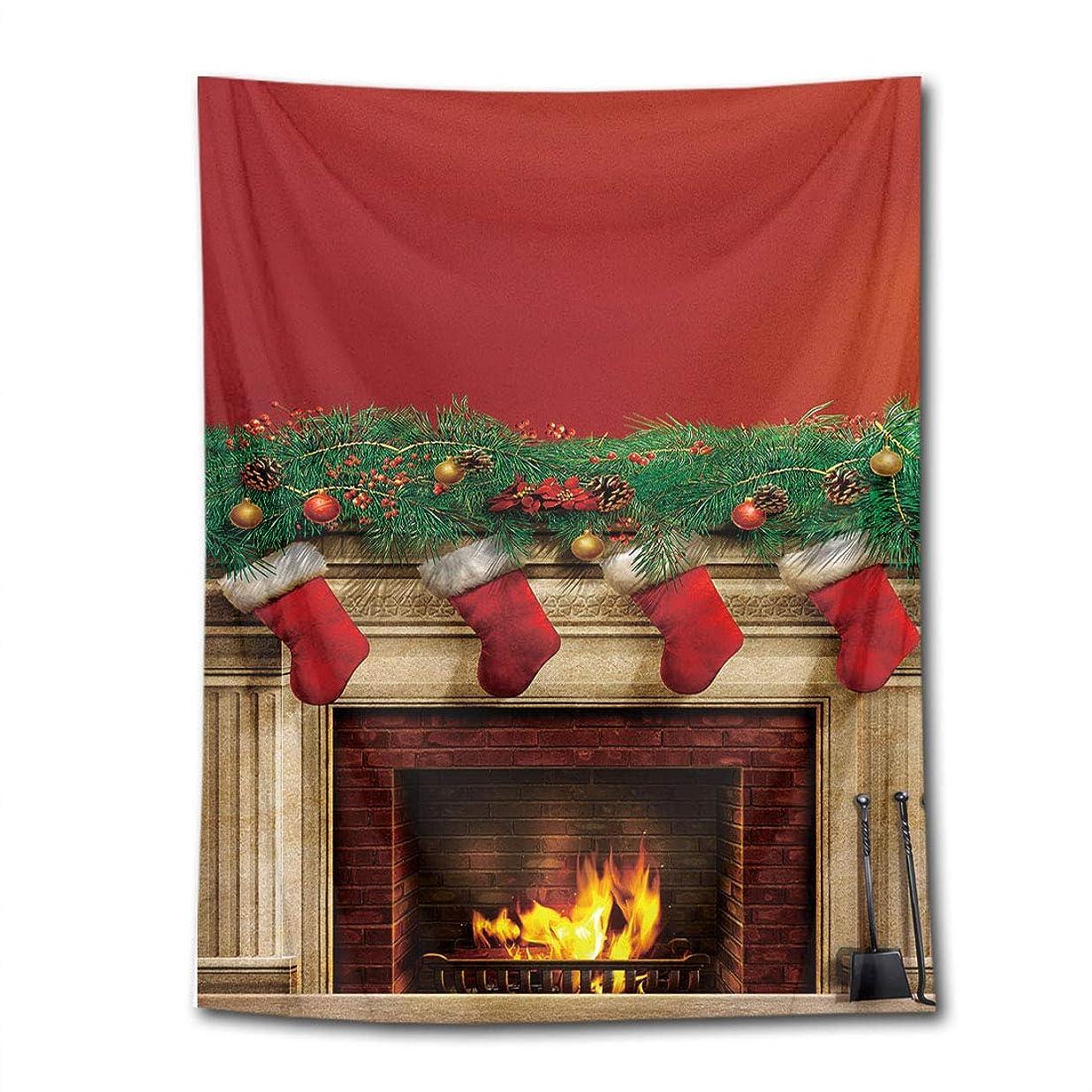 海従順メカニックLB クリスマス飾り物 タペストリー 赤い暖炉 おしゃれ壁掛け 装飾布 欧米風 インテリア 多機能 リビング パーティー用 お店 個性ギフト 人気 お祝い 100x150cm