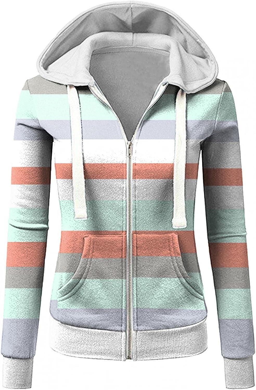 COMVALUE Womens Hoodies,Women's Zip Up Long Sleeve Fall Sweatshirts Striped Printed Casual Drawstring Jacket