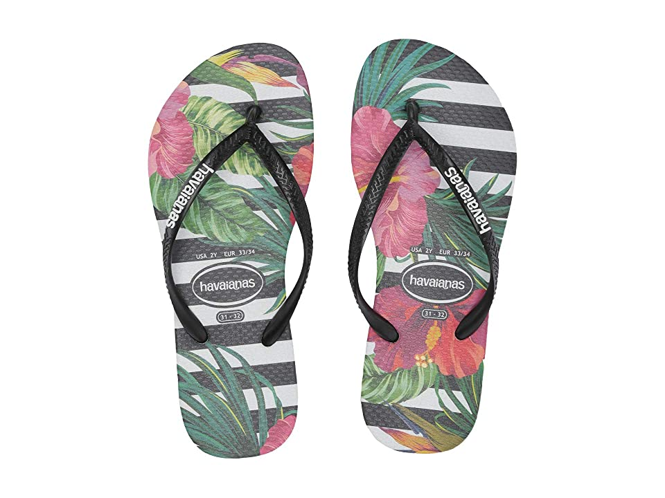 Havaianas Kids Slim Tropical Floral Flip-Flop (Toddler/Little Kid/Big Kid) (Black/Black/Imperial Palace) Girls Shoes
