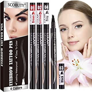 Eyebrow Tattoo Pen,4 Point Eyebrow Pen,Eyebrow Pen,Microblading Eyebrow Pen, Waterproof Liquid Eyebrow Pencil,Creates Natural Looking Brows 4 PCS