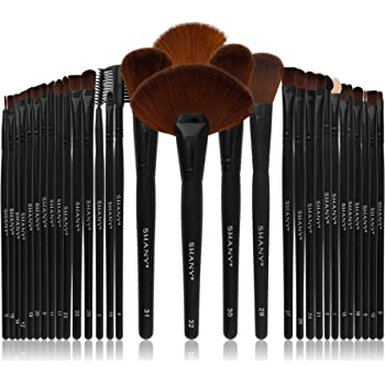 SHANY Professional Brush Set with Faux Leather Pouch, 32 Count, Synthetic Bristles