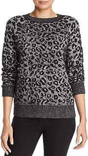 Rebecca Taylor La Vie Women's Leopard Print Jacquard Knit Pullover Sweater, Black Combo, Medium
