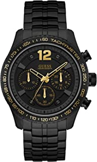 Guess Men's Black Dial Stainless Steel Band Watch - W0969G2