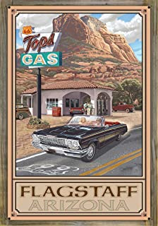 Northwest Art Mall Flagstaff Arizona Route 66 Service Station Metal Print on Reclaimed Barn Wood by Paul A. Lanquist (24