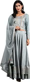 W for Woman Women's Rayon Straight Salwar Suit Set (19AUWS30311-113470_Blue_XS (6))