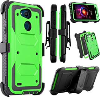 Venoro Compatible LG X Power 3 Case, Heavy Duty Shockproof Full Body Protection Case Cover with Swivel Belt Clip and Kickstand Compatible with LG X Power 2/ LG LV7/LG Fiesta LTE (Green)