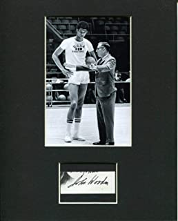 John Wooden UCLA National Champs Basketball HOF Signed Autograph Photo Display - Autographed College Basketballs