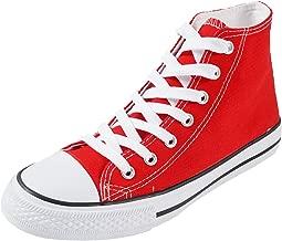 SUNJIN ACRO Women's Unisex Fashion Lace up Canvas Sneaker High Top Walking Shoes
