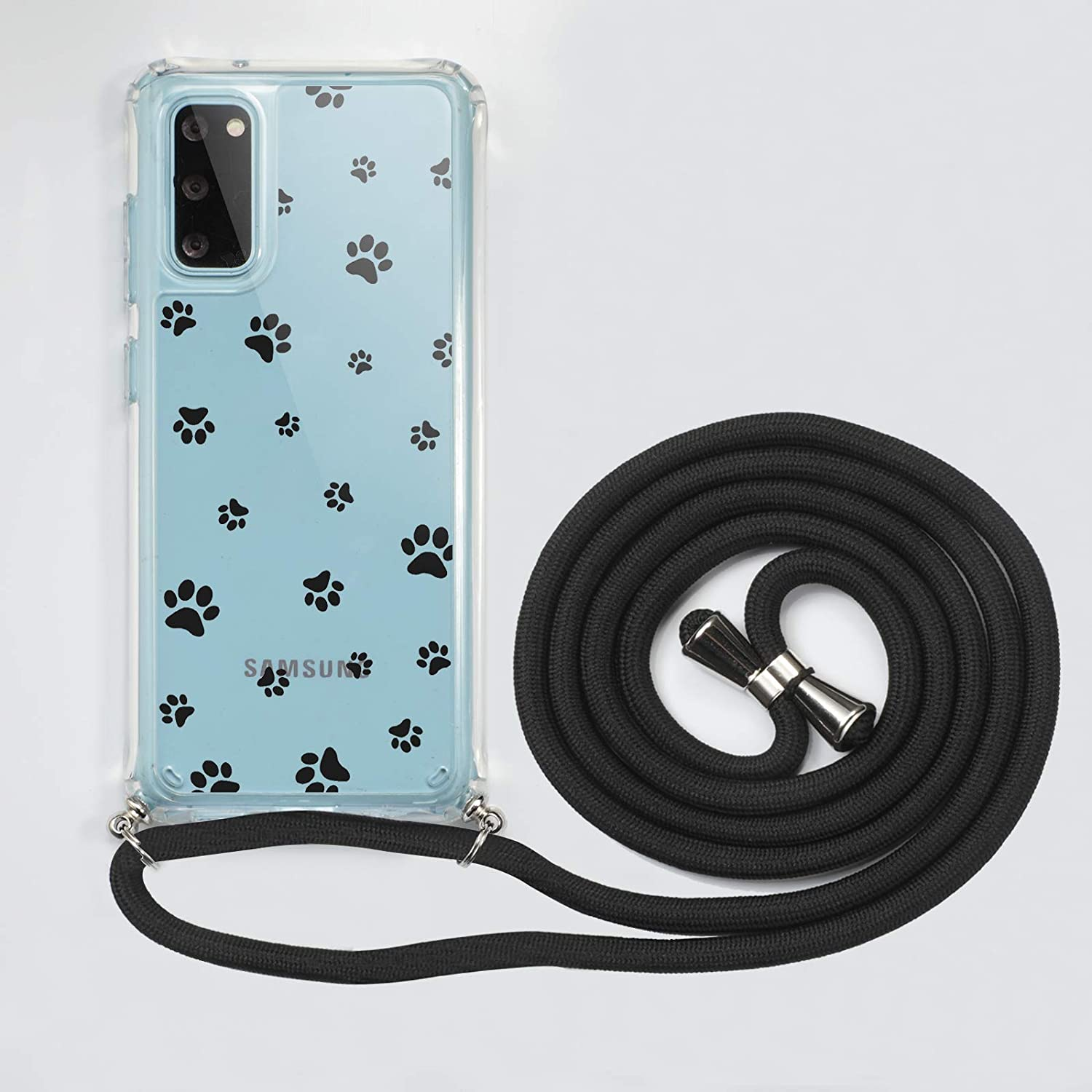 Crossbody Lanyard Phone case for Samsung Galaxy S20 FE,Cute Pattern Clear Design Transparent Hard PC Back+Soft TPU Bumper Anti-Fall Shockproof Protective Cover with Adjustable Neck Strap(Footprint)