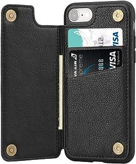 iPhone SE ケース[第2世代] iPhone7ケース iPhone8 ケース カード収納 レザーケース ICカード収納 軽量 スタンド機能 耐衝撃 滑り防止 高級PUレザー 多機能スマホケース 携帯カバー アイフォン7 アイフォン8 ケース通用 4.7インチ(ブラック)