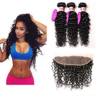100% Human Hair Bundles With Lace Frontal Water Wave 3 Bundles With Ear to Ear Lace Frontal Unprocessed Virgin Brazilian Hair(18 20 22+16 lace frontal, Natural Color)