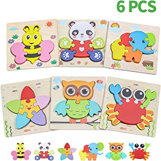 Wooden Animal Jigsaw Puzzles for Toddlers Age 1 2 3 4 5 Year Old, Early Educational Toys Gift for Boys and Girls with 6 Animals Patterns(6PACK)