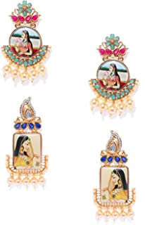 Zaveri Pearls Ethnic Dangler Earrings for Women (Golden) (ZPFK7934)