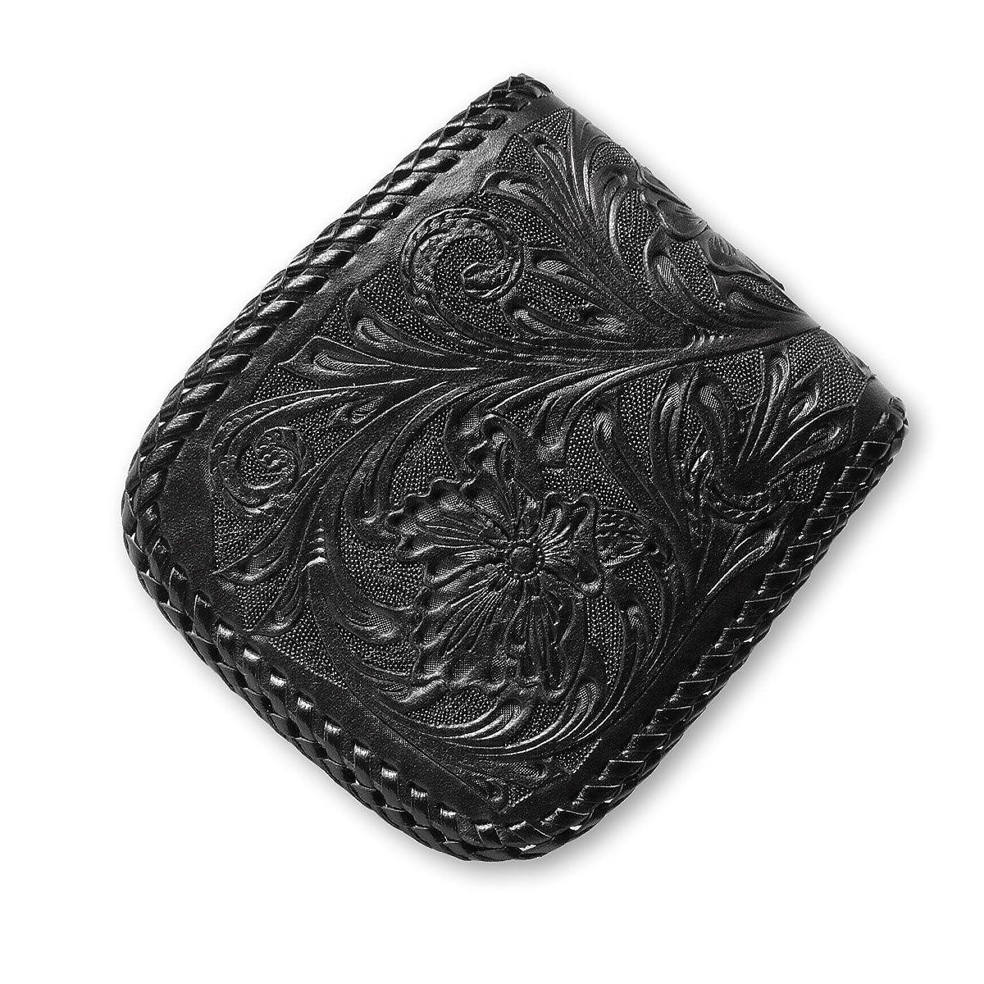 はさみ所属現象ハーフウォレット (メンズウォレット) N-1 革財布 シェリダンスタイルカービング ブラック ダブルステッチ ハンドメイド