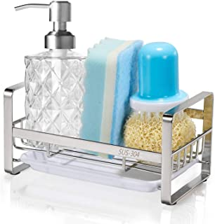 HULISEN スポンジホルダー キッチンスポンジ洗剤置き ステンレス製台所スポンジラック 置き型 (スポンジホルダー-シルバー)