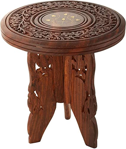 Home Design Mart Wooden Hand Crafted Folding Side Stool for Living Room and Office Small Side Table for lamp Books Flower Pot or vase showpieces Sheesham 12X12X12 INCH