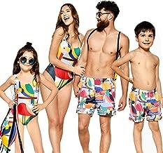 Family Matching Flamingo Print Bathing Suit Mom&Girl One Piece Sleeveless Monokini Dad&Boy Trunks with Pockets