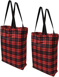 Earthwise Plaid Everyday Reusable Fashion Shopping Bag Tote Large for Grocery Gift Vacation 17 inches x 17 inches x 6 inches Proudly Made in the USA (Set of 2) (Plaid)