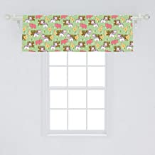 Lunarable Farmhouse Window Valance, Country Style Cartoon Animals Print with Cow Pig and Chicken Near The Fence Image, Curtain Valance for Kitchen Bedroom Decor with Rod Pocket, 54