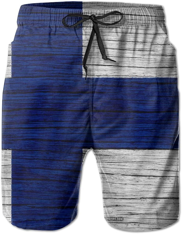HFSST Finland Wooden Texture Finnish FlagHandsome Fashion Summer Cool Shorts Swimming Trunks Beachwear Beach Shorts