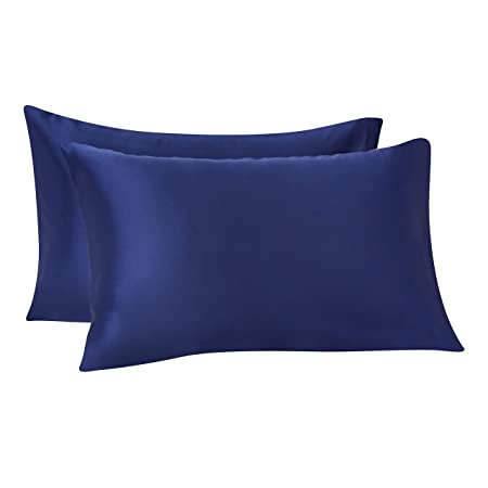 Amazon Basics Satin Pillowcases for Hair and Skin, Envelope Closure - Navy, Standard, Pack of 2