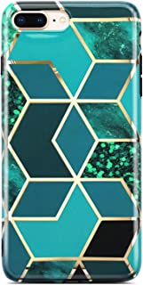 Coolwee iPhone 7 Plus Case,iPhone 8 Plus Case Marble Slim Fit Bling Glitter Sparkle Gold Foil Stripe Glossy Thin Cute Glossy Soft TPU Bumper Girls Women Protective Cover for Apple iPhone 8 Plus Green