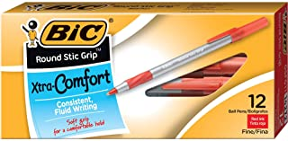 BIC Round Stic Grip Xtra Comfort Ballpoint Pen, Fine Point (0.8mm), Red, 12-Count
