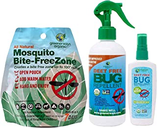 Greenerways Organic Bug Repellent Family Pack with DEET-Free Insect Repellent (4 oz), Bug Spray for Kids (12 oz), and Organic Mosquito Repellant Free Zone Pouch