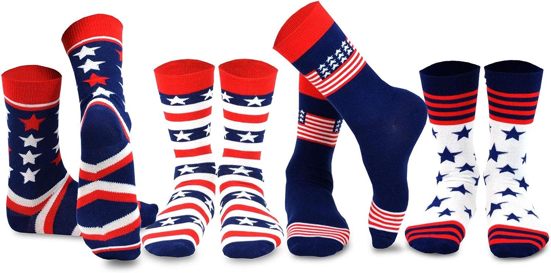 TeeHee American Patriotic Novelty Crew Socks for Men and Women