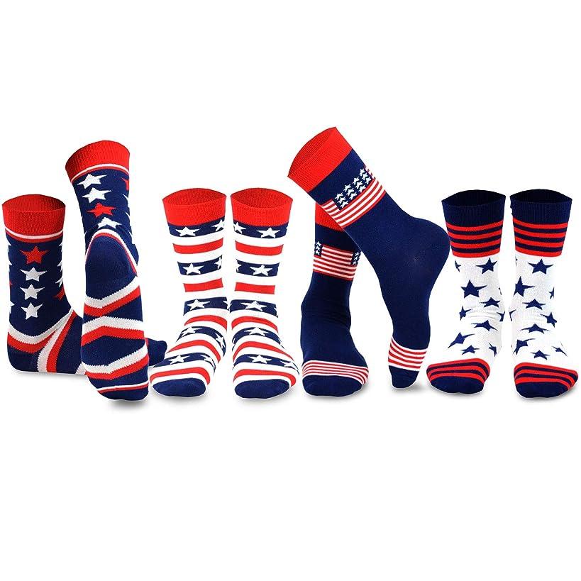 TeeHee Novelty Fashion American Flag Cotton Socks 4 Pair Pack