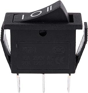 ACAMPTAR 5 Pcs SPST Boton negro On//Off interruptor Redondo de AC 6A//250V 10A//125V