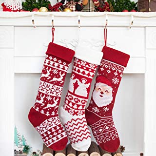 Beyond Your Thoughts 2019 New Knitted Christmas Stockings Extra Large Ornament Decorations for Family Holiday Season Decor Christmas Bags Christmas Deer and Gingerbread Man and Santa