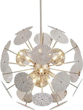 Fivess Lighting 12-Light Modern Sputnik Chandelier Brushed Nickel with Bulbs, Adjustable Rods Globe Pendant Lighting Fixture